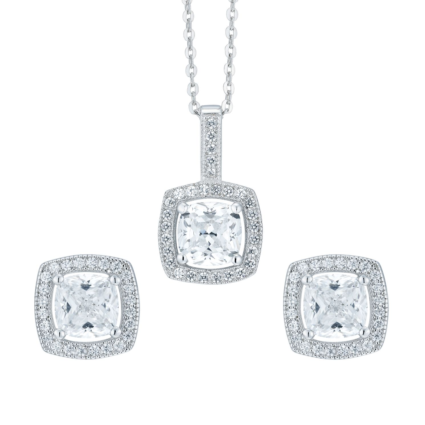 Silver Cubic Zirconia Cushion Earrings And Pendant Set - Product number 8116989