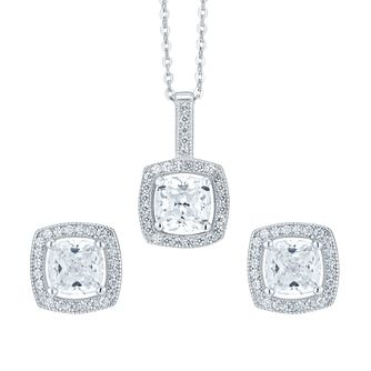 cc8d9fe015fcd Silver Cubic Zirconia Cushion Earrings and Pendant Set