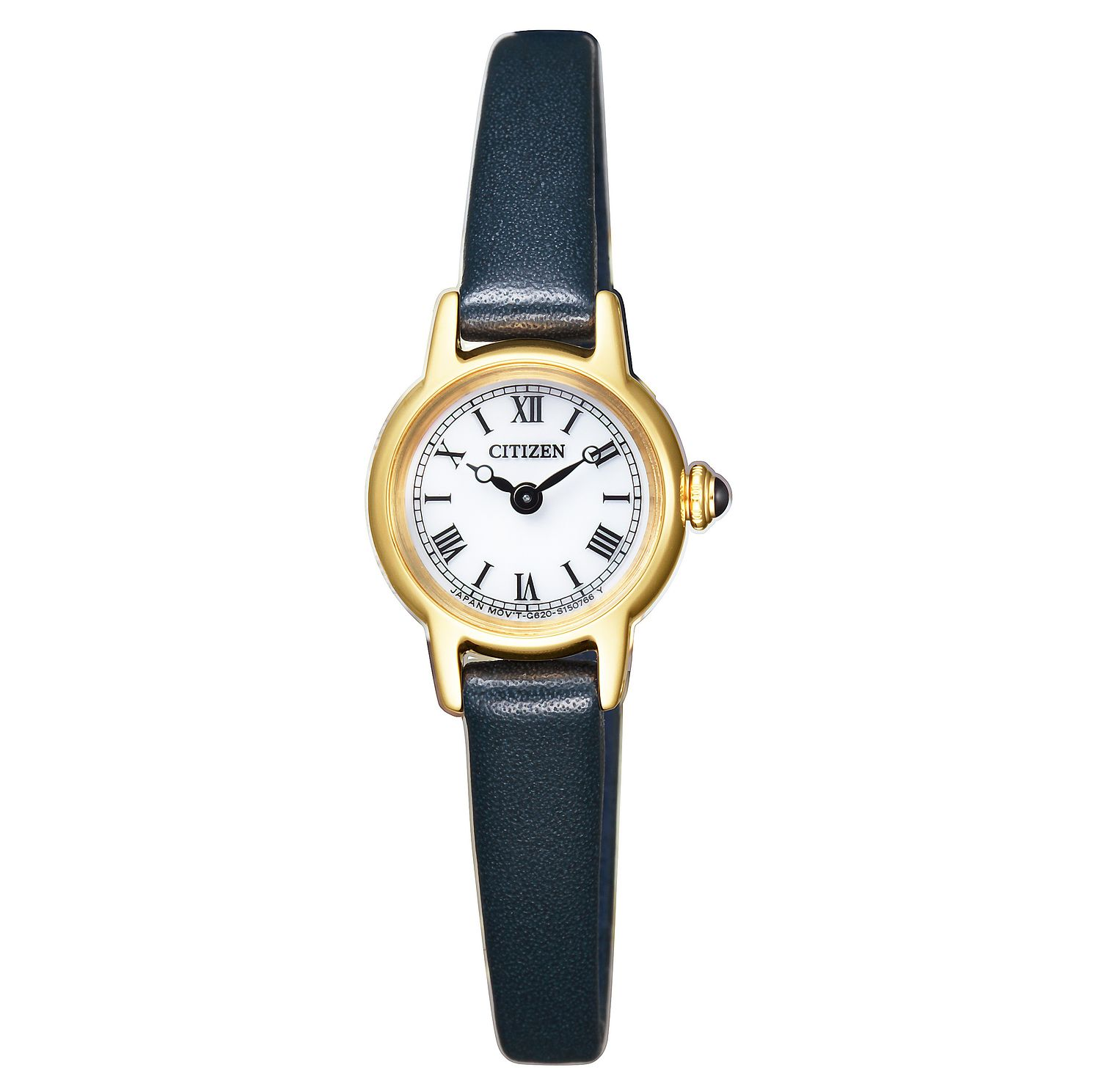 Citizen Elegance Ladies' Yellow Gold Tone Blue Strap Watch - Product number 8117284