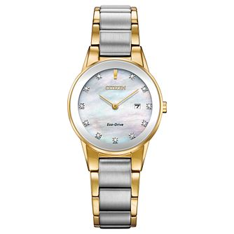 Citizen Ladies Eco Drive Two Colour Iridescent Diamond Watch - Product number 8117365