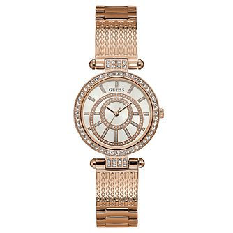Guess Ladies' Iconic Rose Gold Plated Bracelet Watch - Product number 8119430