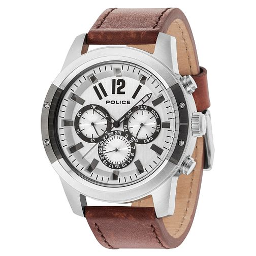 Police Men's Brown Leather Strap Watch - Product number 8119783