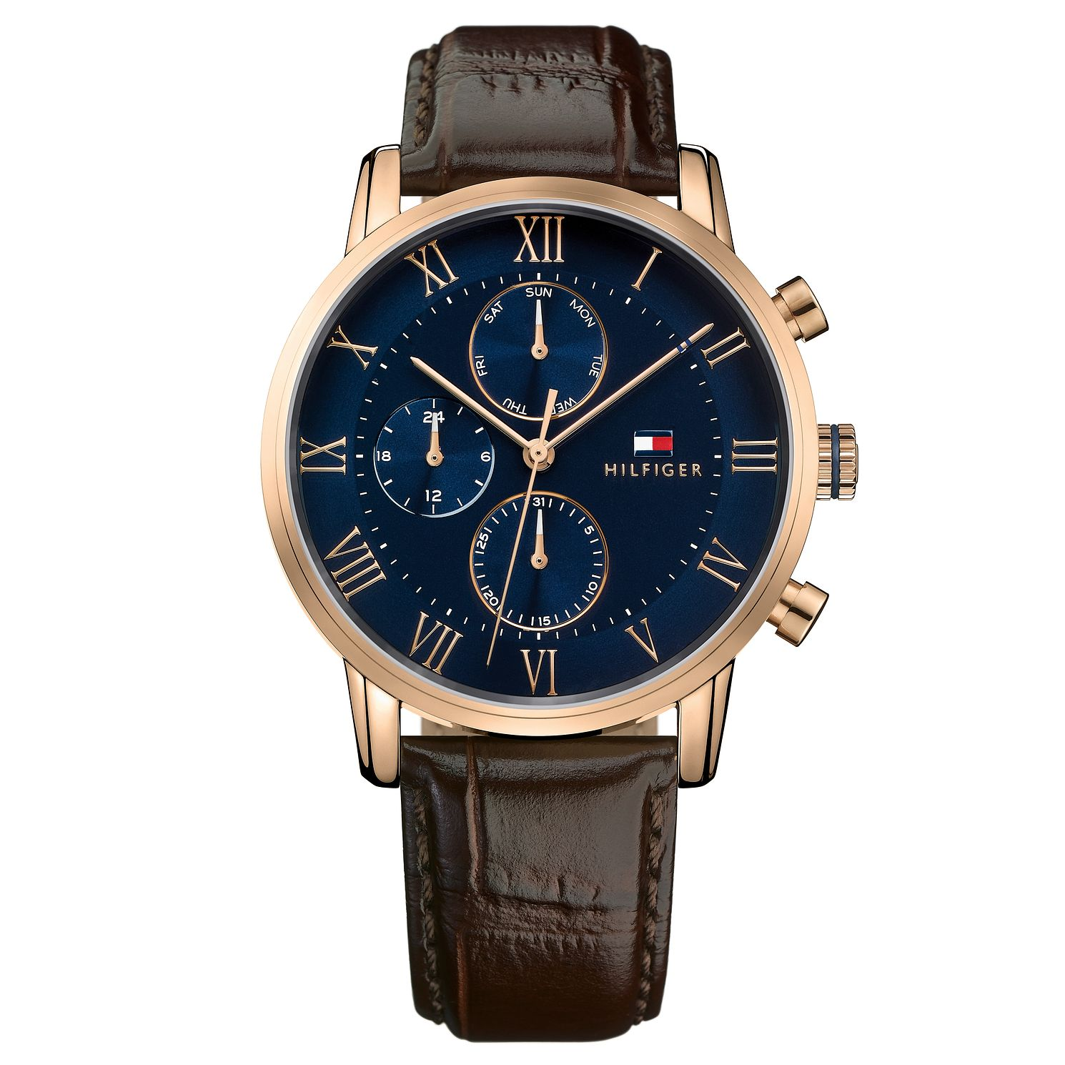 Tommy Hilfiger Men's Brown Leather Strap Watch - Product number 8120153
