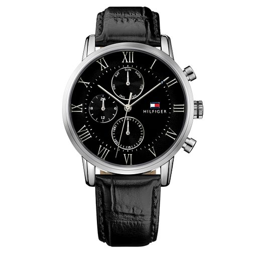 Tommy Hilfiger Men's Black Leather Strap Watch - Product number 8120188