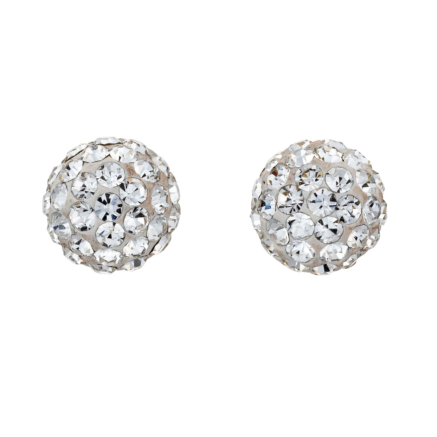 9ct White Gold Crystal Glitter Ball 7mm Stud Earrings - Product number 8120420