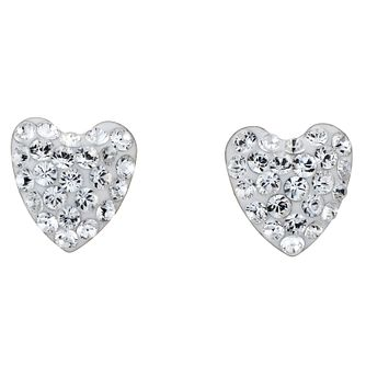 9ct White Gold Evoke Crystal Heart Earrings 17mm - Product number 8120447
