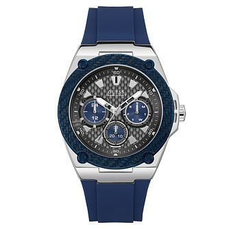 Guess Men's Blue Silicone Strap Watch - Product number 8122644