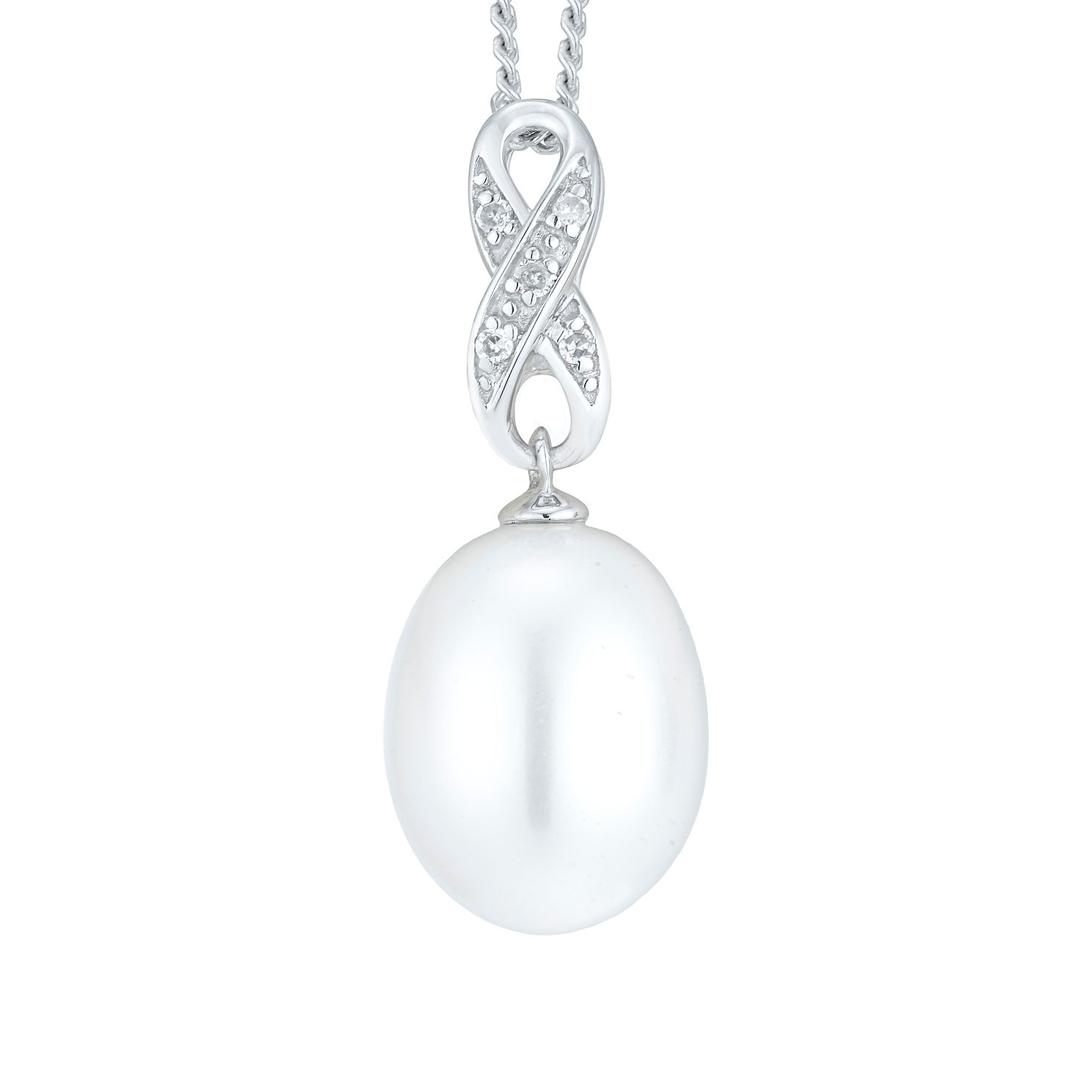 9ct White Gold Cultured Freshwater Pearl Infinity Pendant - Product number 8124795