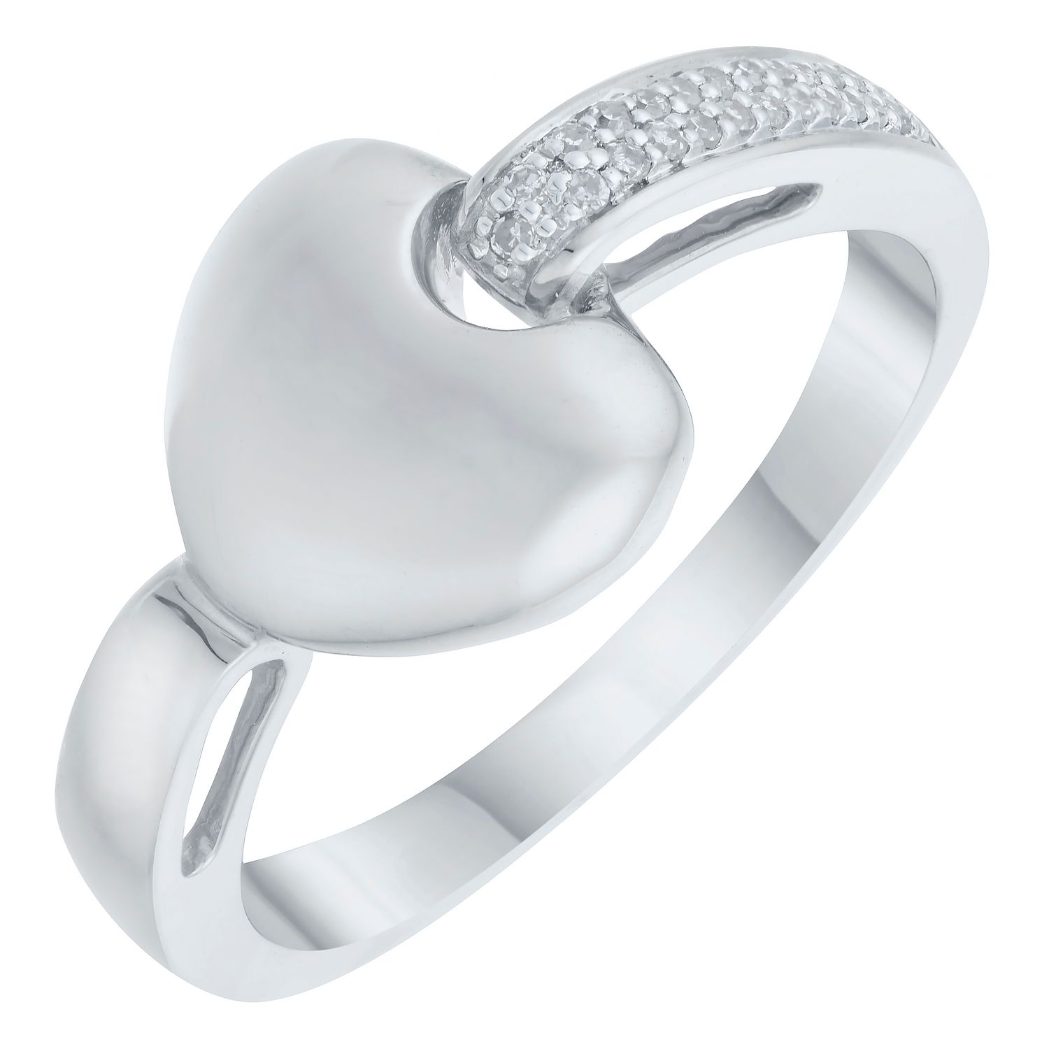 9ct White Gold Diamond Everlasting Heart Ring - Product number 8129770