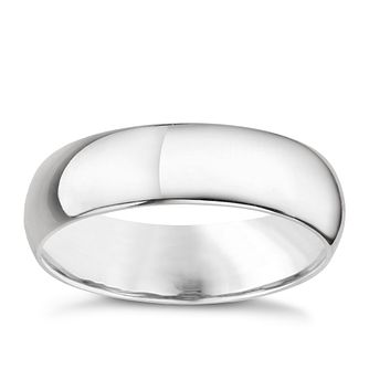 18ct white gold 5mm extra heavyweight D Shape ring - Product number 8129916