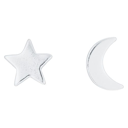 Sterling Silver Star & Moon Mismatched Stud Earrings - Product number 8131082