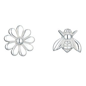 Sterling Silver Bee & Flower Mismatched Stud Earrings - Product number 8131252