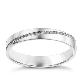 18ct White Gold Diagonal 0.13ct Diamond Set Wedding Ring - Product number 8134286