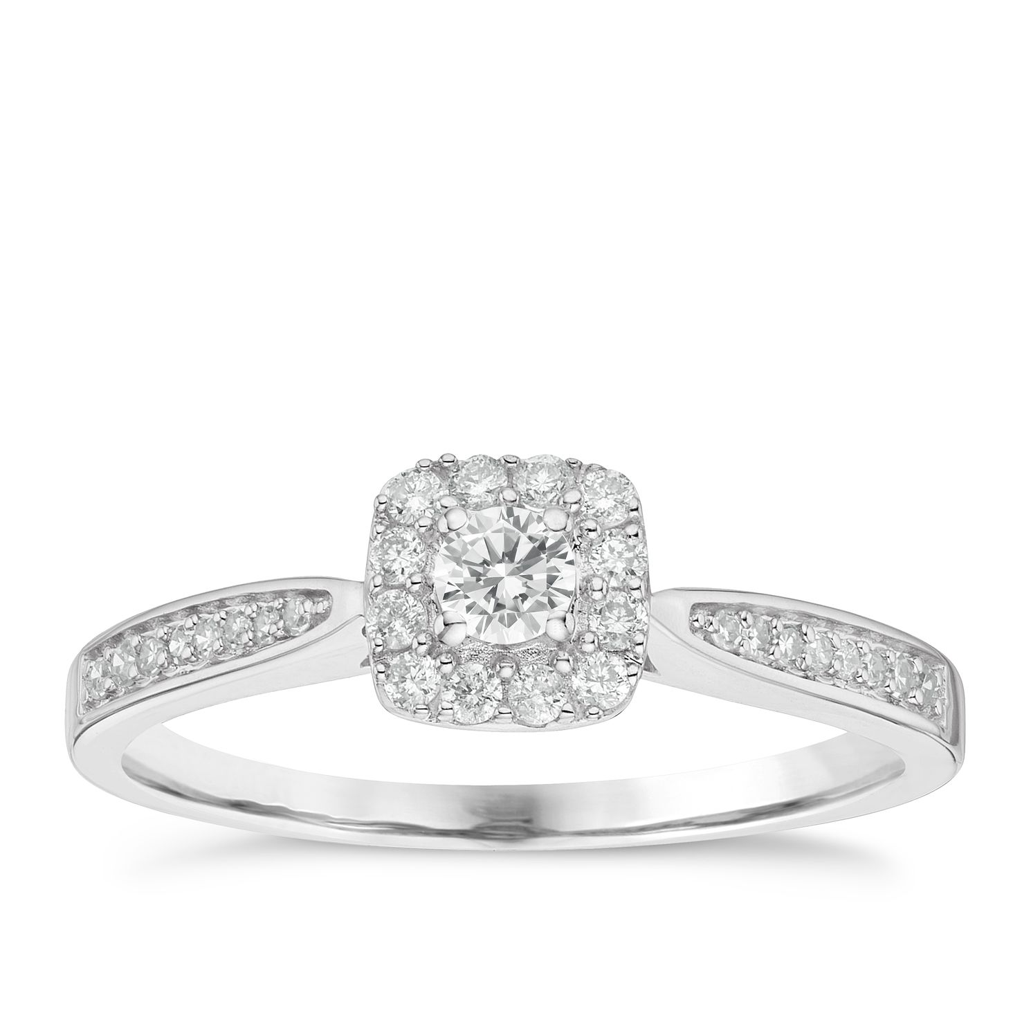 9ct White Gold 0.25ct Diamond Halo Ring - Product number 8136424