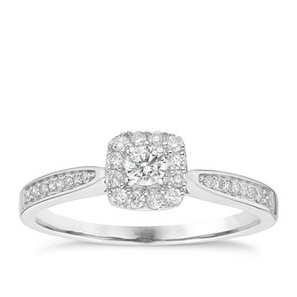 9ct White Gold 0.25ct Total Diamond Halo Ring - Product number 8136424