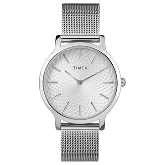 Timex Ladies' Silver Stainless Steel Mesh Bracelet Watch - Product number 8140014
