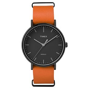 Timex Men's Weekender Fairfield Orange Leather Strap Watch - Product number 8140294