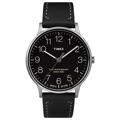 Timex Men's Waterbury Classic Black Leather Strap Watch - Product number 8140324