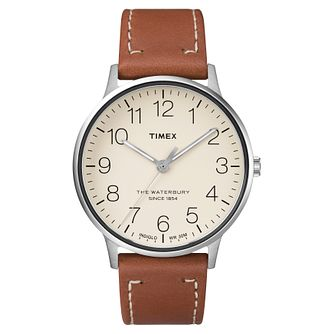 Timex Men's Waterbury Classic Brown Leather Strap Watch - Product number 8140332