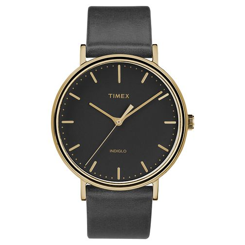 Timex Men's Fairfield Black Leather Strap Watch - Product number 8140375