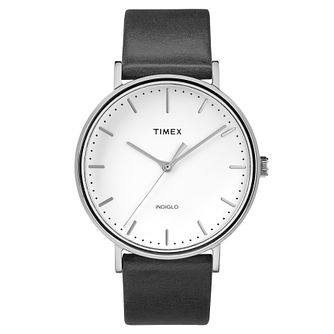 Timex Men's Fairfield Black Leather Strap Watch - Product number 8140391