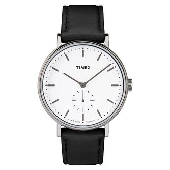 Timex Men's Black Leather Strap Watch - Product number 8140472