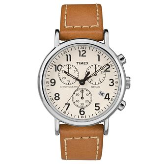 Timex Men's Tan Leather Strap Chronograph Watch - Product number 8140537