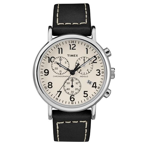 Timex Men's Black Leather Strap Chronograph Watch - Product number 8140545
