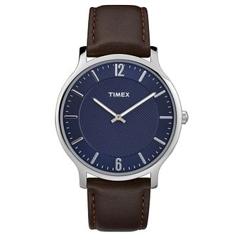 Timex Men's Brown Leather Strap Watch - Product number 8140588