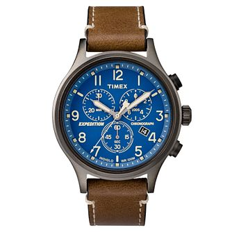 Timex Men's Expedition Brown Leather Strap Chronograph Watch - Product number 8140642