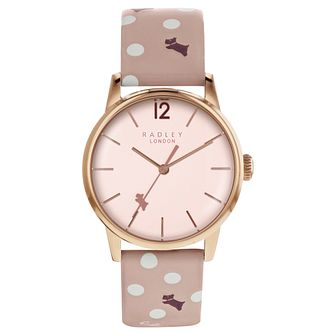 Radley Ladies' Pink Spotted Dog Print Leather Strap Watch - Product number 8140774