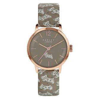 Radley Ladies' Brown Dog Print Leather Strap Watch - Product number 8140782