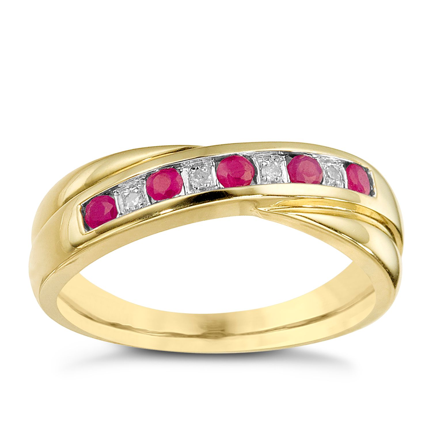 9ct Yellow Gold Ruby & Diamond Crossover Ring - Product number 8142262