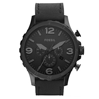 Fossil Men's Chronograph Black Leather Strap Watch - Product number 8144729