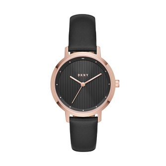 DKNY Ladies' Black Leather Strap Watch - Product number 8144893