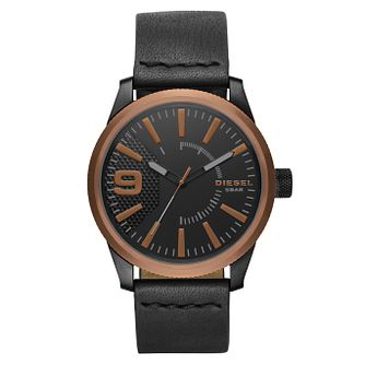 Diesel Rasp Men's Black Leather Strap Watch - Product number 8144974