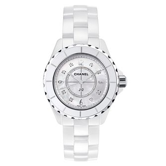Chanel J12 White Ceramic Mother of Pearl Diamond Watch - Product number 8145199