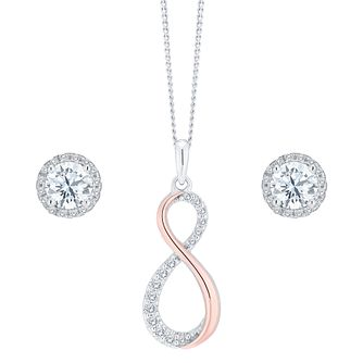 9ct Rose Gold & Cubic Zirconia Pendant and Earrings Set - Product number 8145814