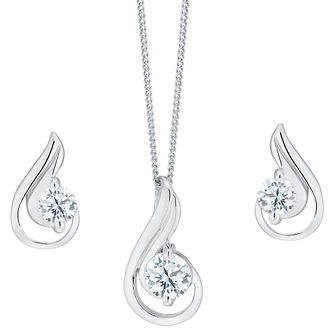 Sterling Silver And Cubic Zirconia Earring And Pendant Set - Product number 8145849