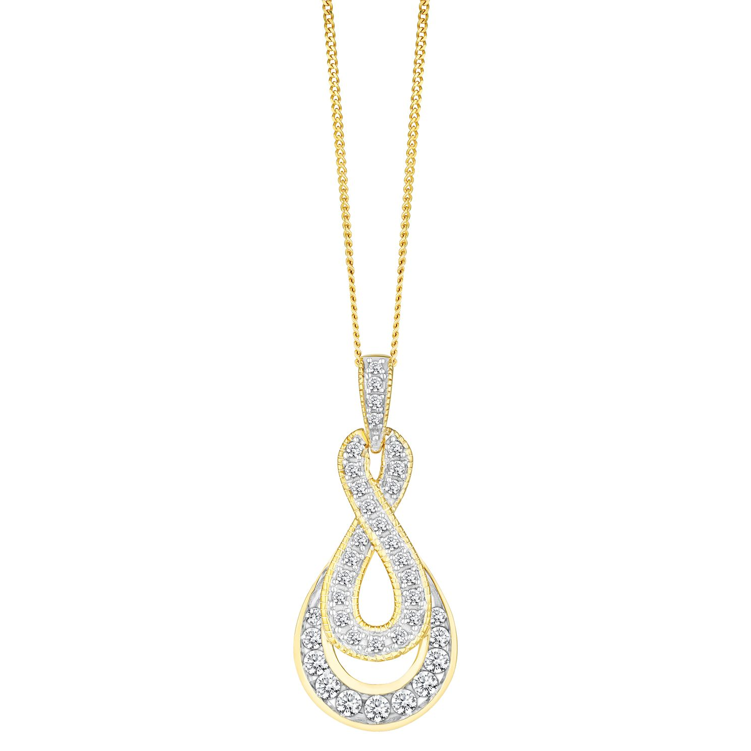 9ct Yellow Gold 0.33ct Figure Of 8 Diamond Pendant - Product number 8147167