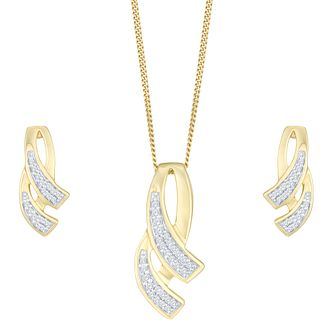 9ct Yellow Gold Diamond Cascade Jewellery Set - Product number 8147310