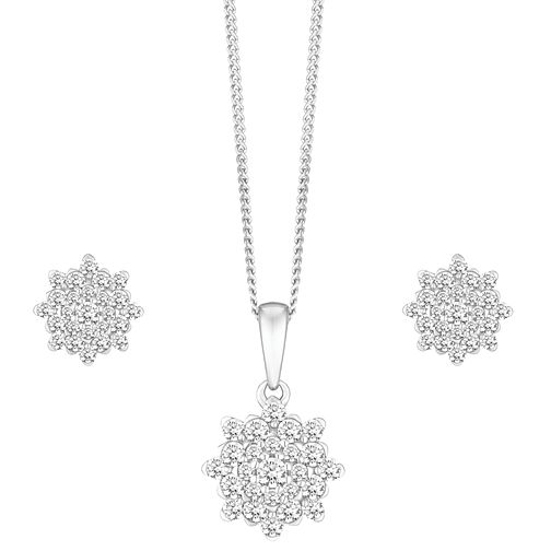 e9d36bf28d3 9ct White Gold 0.50ct Floral Cluster Diamond Jewellery Set - Product number  8147329