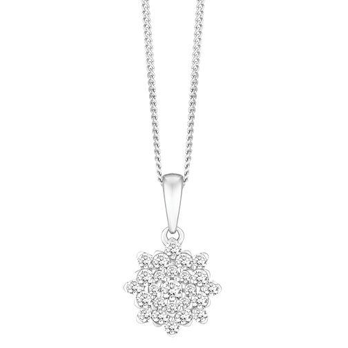 48d78ebb89e 9ct White Gold 0.50ct Floral Cluster Diamond Jewellery Set - Ernest Jones