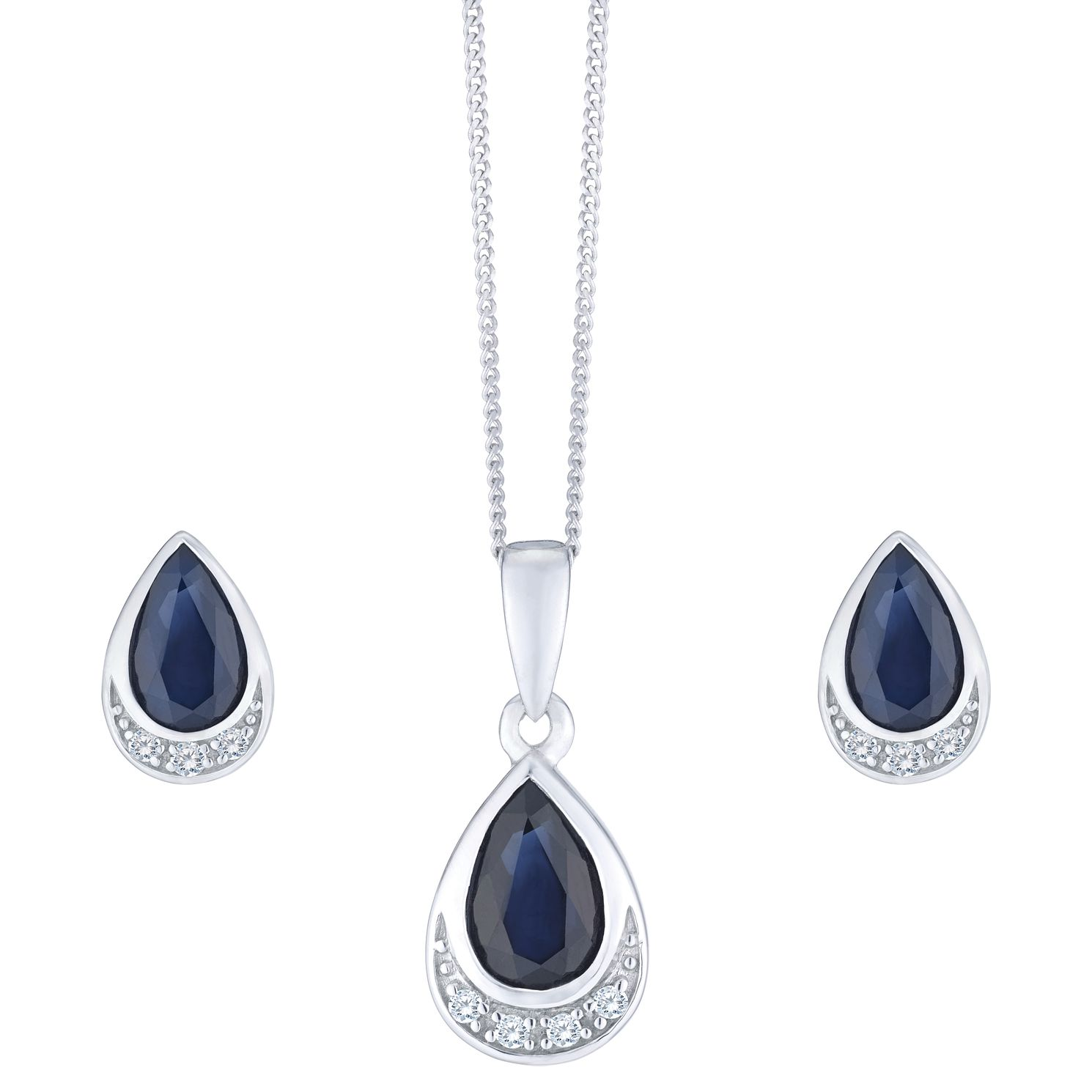9ct White Gold Sapphire And Diamond Jewellery Set - Product number 8147337