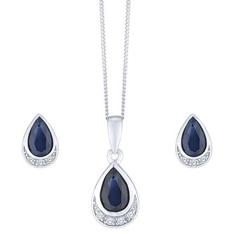 559083ddd8c 9ct White Gold Sapphire and Diamond Jewellery Set - Product number 8147337
