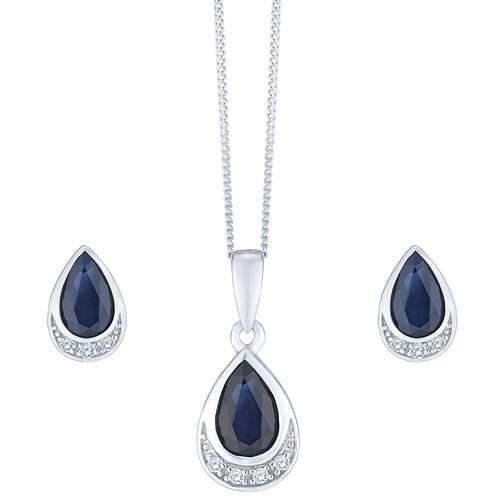 92bead1e9 9ct White Gold Sapphire and Diamond Jewellery Set - Product number 8147337