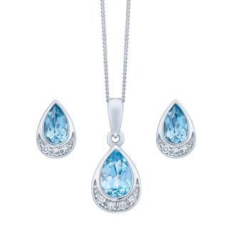 9ct White Gold Blue Topaz & Diamond Jewellery Set - Product number 8147345