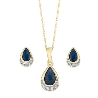 9ct Yellow Gold Sapphire & Diamond Jewellery Set - Product number 8147353