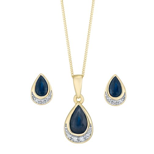 0066b7f90 9ct Yellow Gold Sapphire and Diamond Jewellery Set - Product number 8147353