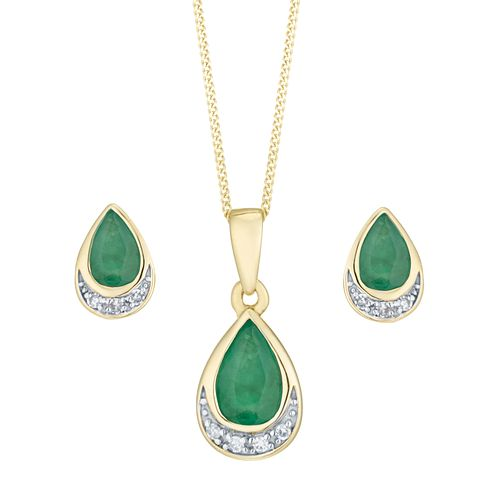 9ct Yellow Gold Emerald and Diamond Jewellery Set - Product number 8147361